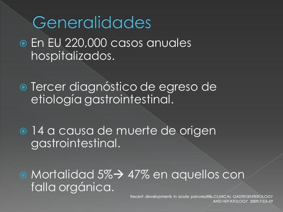 En EU 220,000 casos anuales hospitalizados. Tercer diagnóstico de egreso de etiología gastrointestinal. 14 a causa de muerte de origen gastrointestina