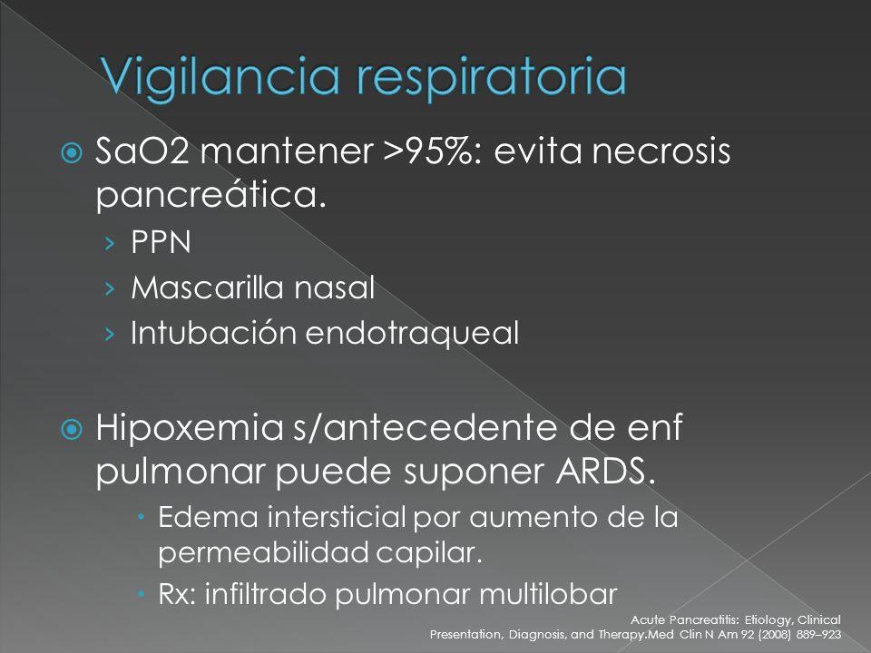 SaO2 mantener >95%: evita necrosis pancreática. PPN Mascarilla nasal Intubación endotraqueal Hipoxemia s/antecedente de enf pulmonar puede suponer ARD