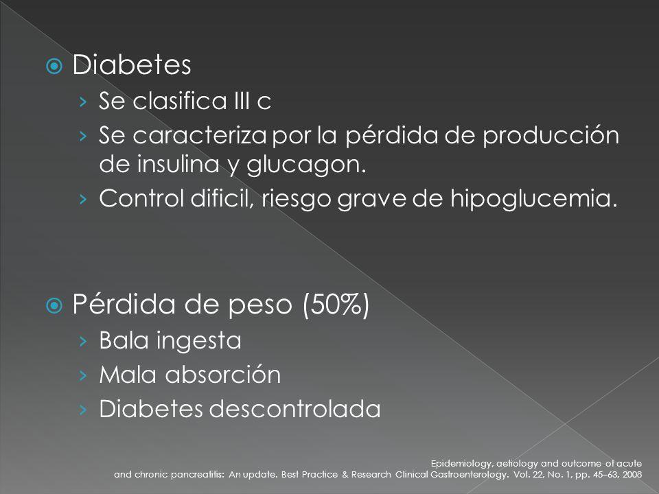 Diabetes Se clasifica III c Se caracteriza por la pérdida de producción de insulina y glucagon. Control dificil, riesgo grave de hipoglucemia. Pérdida