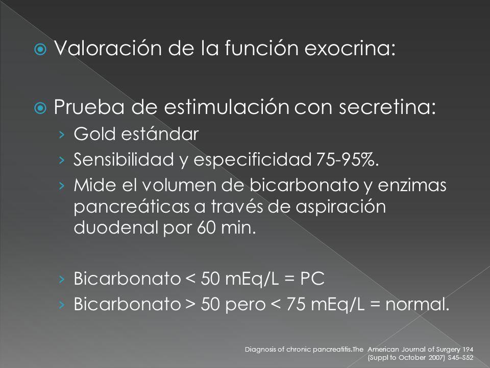 Valoración de la función exocrina: Prueba de estimulación con secretina: Gold estándar Sensibilidad y especificidad 75-95%. Mide el volumen de bicarbo