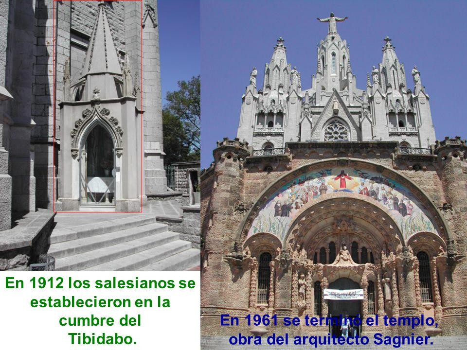 En 1912 los salesianos se establecieron en la cumbre del Tibidabo. En 1961 se terminó el templo, obra del arquitecto Sagnier.