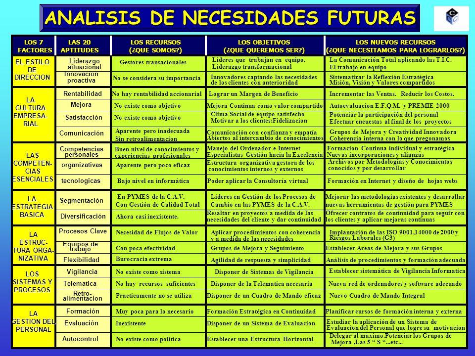 ANALISIS DE NECESIDADES FUTURAS EL ESTILO DEDIRECCION LACULTURAEMPRESA-RIAL LASCOMPETEN-CIASESENCIALES LAESTRATEGIABASICA LAESTRUC- TURA ORGA- NIZATIV