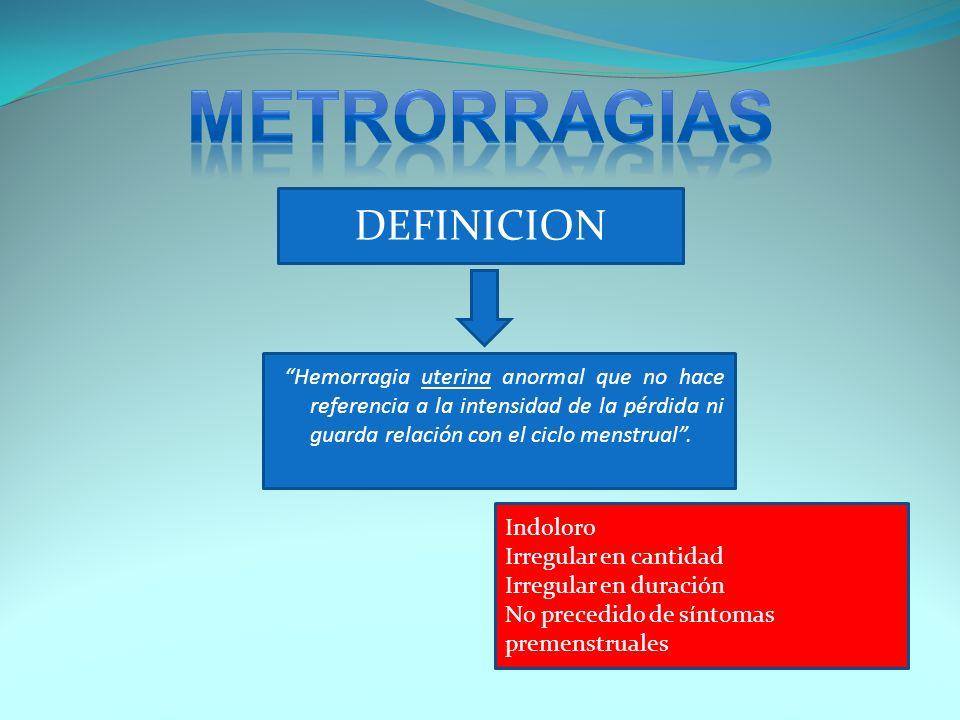 DEFINICION Hemorragia uterina anormal que no hace referencia a la intensidad de la pérdida ni guarda relación con el ciclo menstrual. Indoloro Irregul