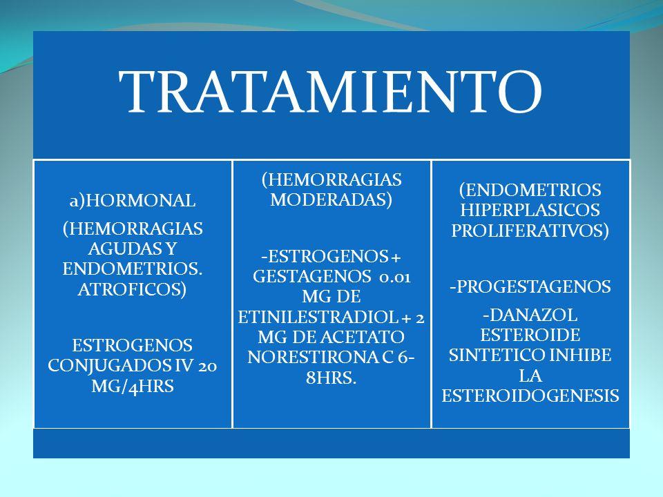 TRATAMIENTO a)HORMONAL (HEMORRAGIAS AGUDAS Y ENDOMETRIOS. ATROFICOS) ESTROGENOS CONJUGADOS IV 20 MG/4HRS (HEMORRAGIAS MODERADAS) -ESTROGENOS + GESTAGE