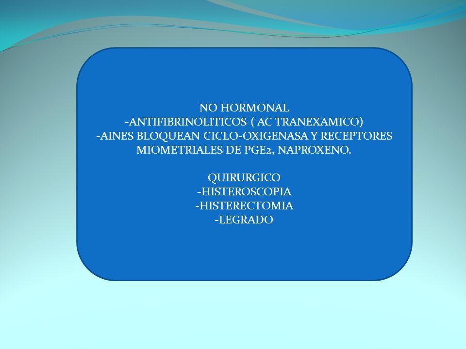 NO HORMONAL -ANTIFIBRINOLITICOS ( AC TRANEXAMICO) -AINES BLOQUEAN CICLO-OXIGENASA Y RECEPTORES MIOMETRIALES DE PGE2, NAPROXENO. QUIRURGICO -HISTEROSCO