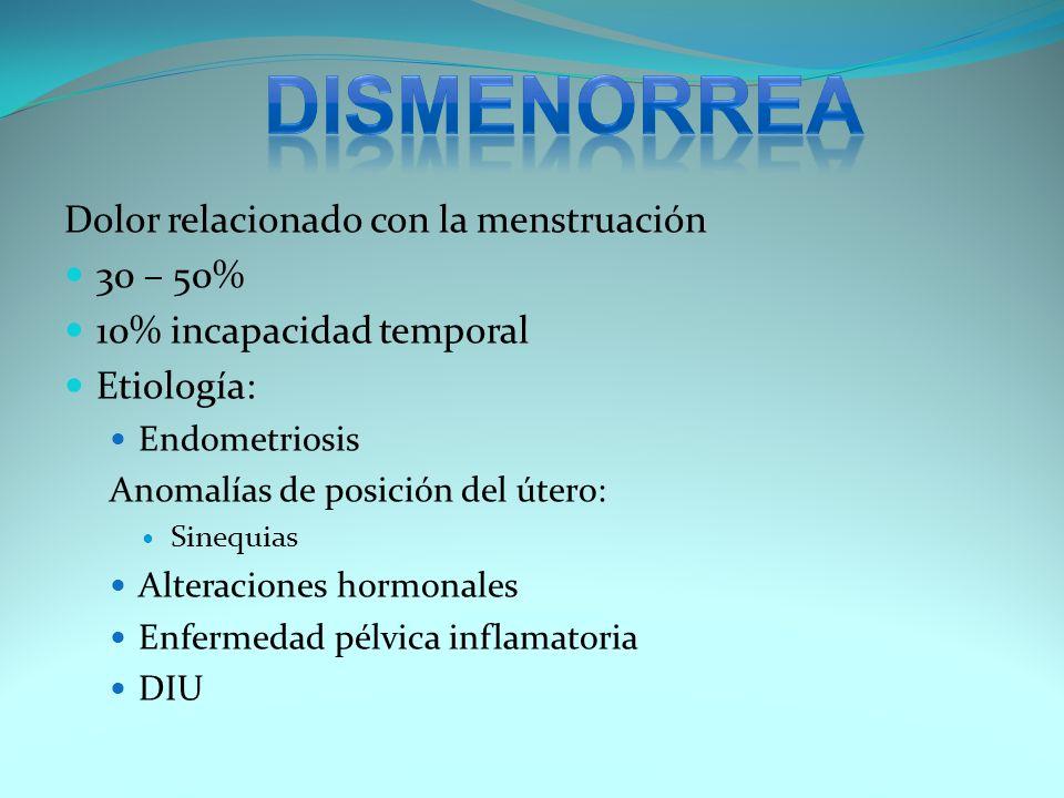 Dolor relacionado con la menstruación 30 – 50% 10% incapacidad temporal Etiología: Endometriosis Anomalías de posición del útero: Sinequias Alteracion