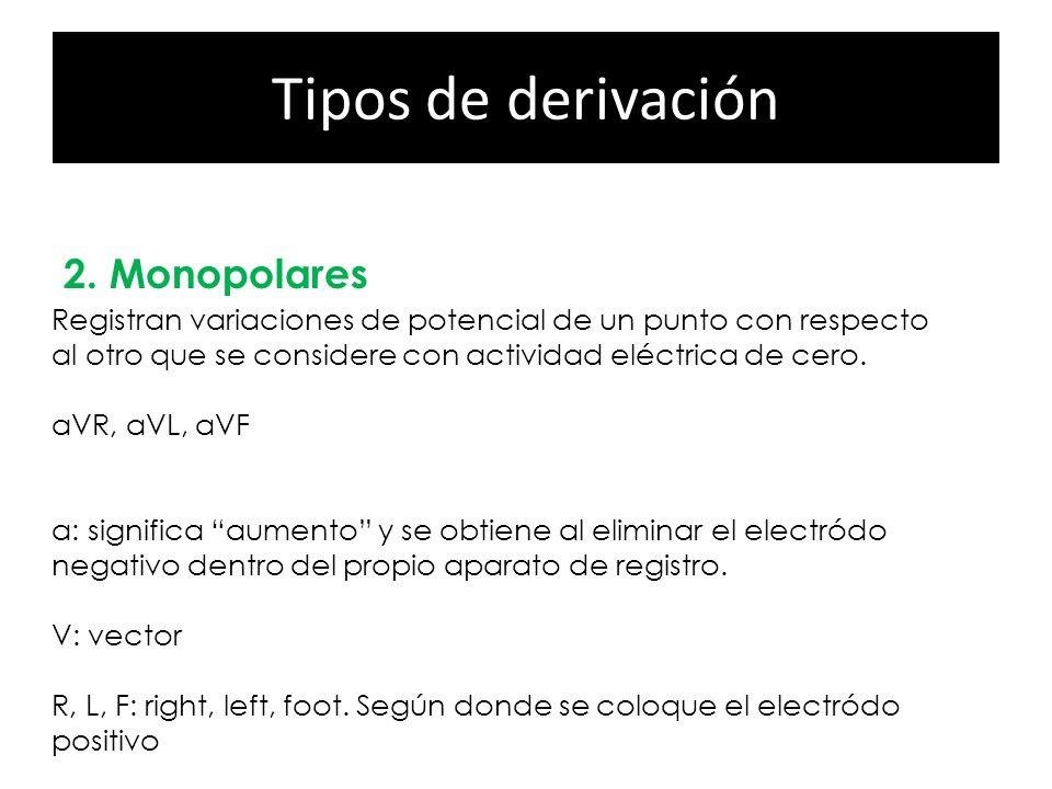Tipos de derivación 2. Monopolares 1.Precordiales Registran variaciones de potencial de un punto con respecto al otro que se considere con actividad e