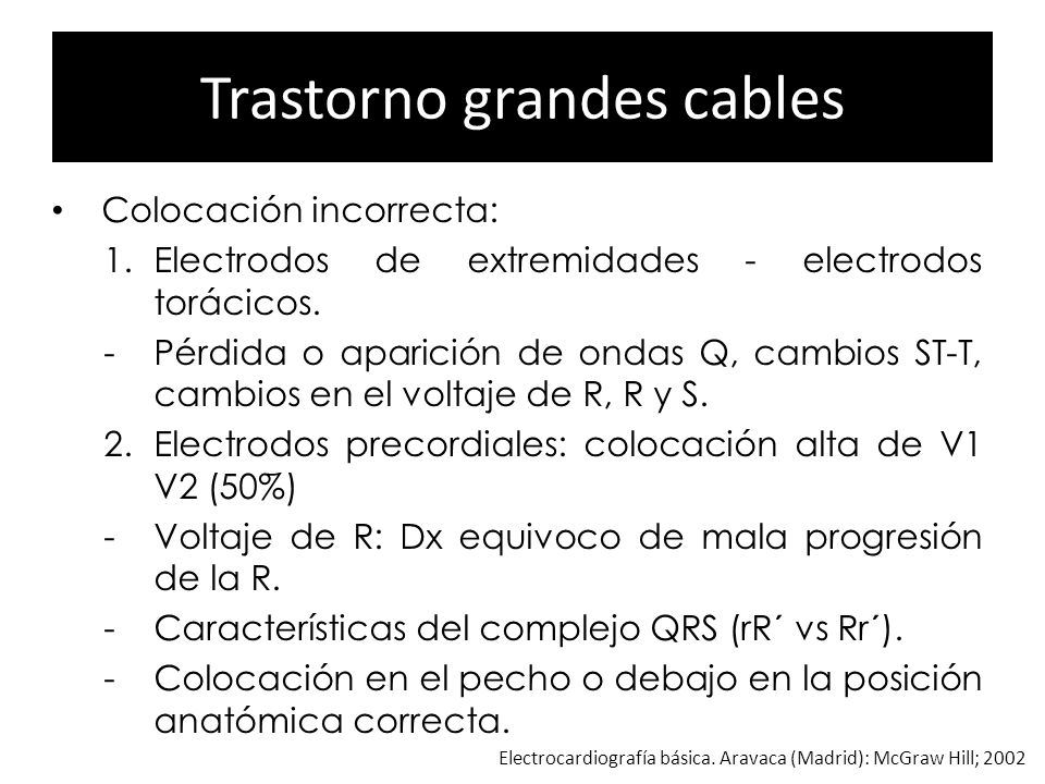 Trastorno grandes cables Colocación incorrecta: 1.Electrodos de extremidades - electrodos torácicos. -Pérdida o aparición de ondas Q, cambios ST-T, ca