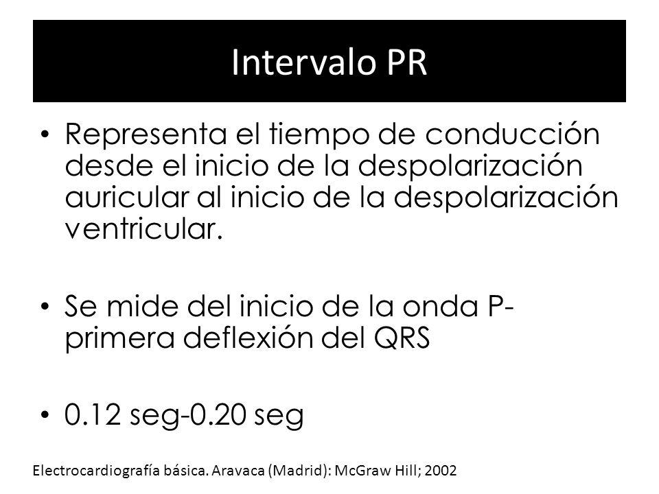 Intervalo PR Representa el tiempo de conducción desde el inicio de la despolarización auricular al inicio de la despolarización ventricular. Se mide d