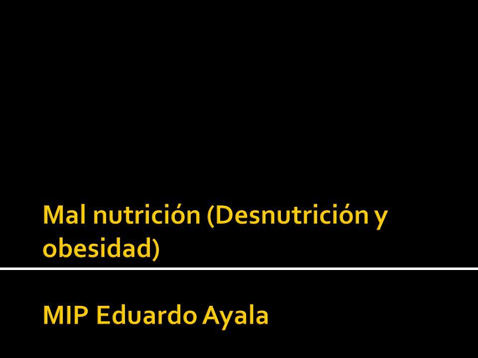 Se refiere a la deficiencia, exceso o desbalance en la ingesta de energía, proteínas y otros nutrientes, el termino incluye tanto a desnutrición como a la obesidad