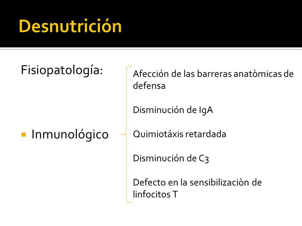 Fisiopatología: Inmunológico Afección de las barreras anatòmicas de defensa Disminución de IgA Quimiotáxis retardada Disminución de C3 Defecto en la s