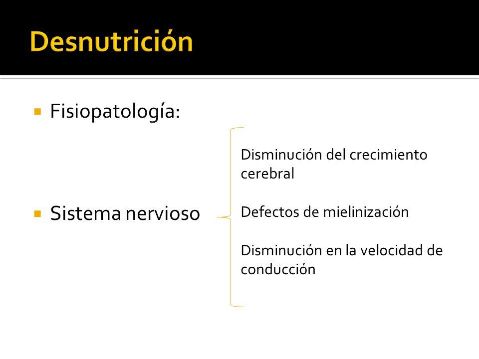 Fisiopatología: Sistema nervioso Disminución del crecimiento cerebral Defectos de mielinización Disminución en la velocidad de conducción