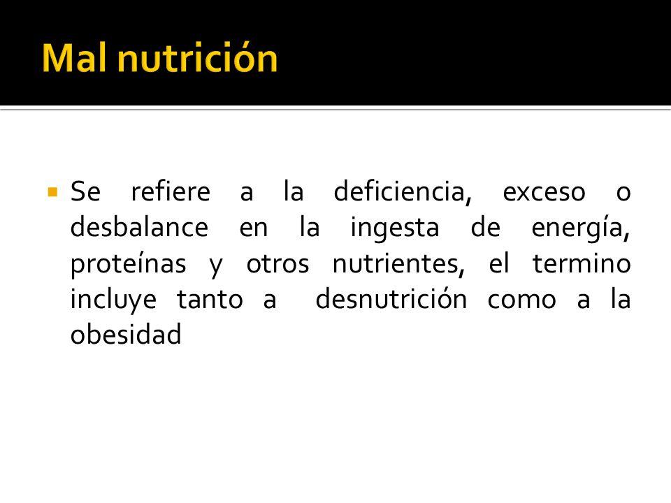 Se refiere a la deficiencia, exceso o desbalance en la ingesta de energía, proteínas y otros nutrientes, el termino incluye tanto a desnutrición como