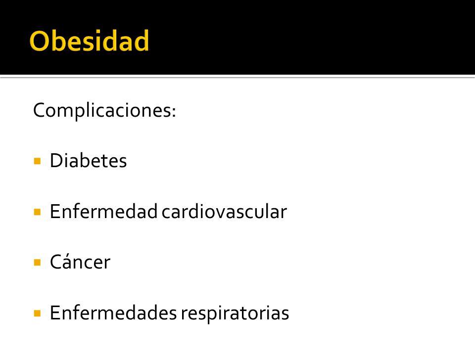 Complicaciones: Diabetes Enfermedad cardiovascular Cáncer Enfermedades respiratorias