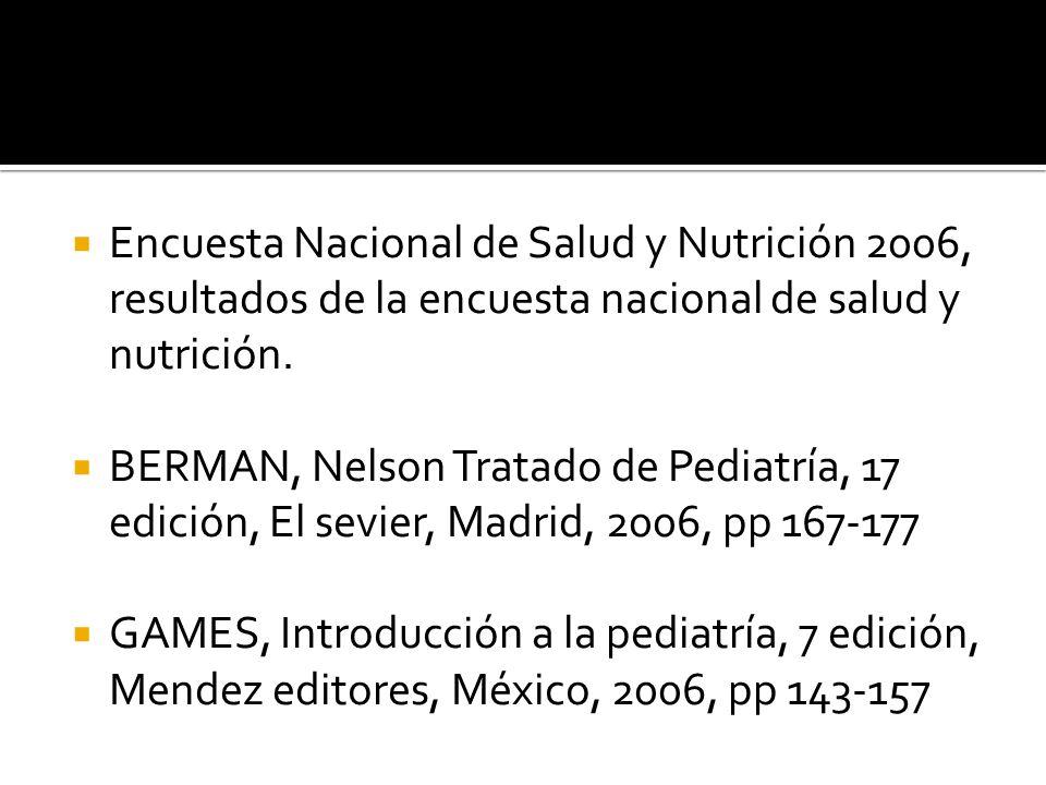 Encuesta Nacional de Salud y Nutrición 2006, resultados de la encuesta nacional de salud y nutrición. BERMAN, Nelson Tratado de Pediatría, 17 edición,