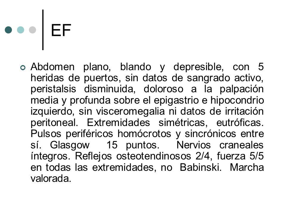 EF Abdomen plano, blando y depresible, con 5 heridas de puertos, sin datos de sangrado activo, peristalsis disminuida, doloroso a la palpación media y