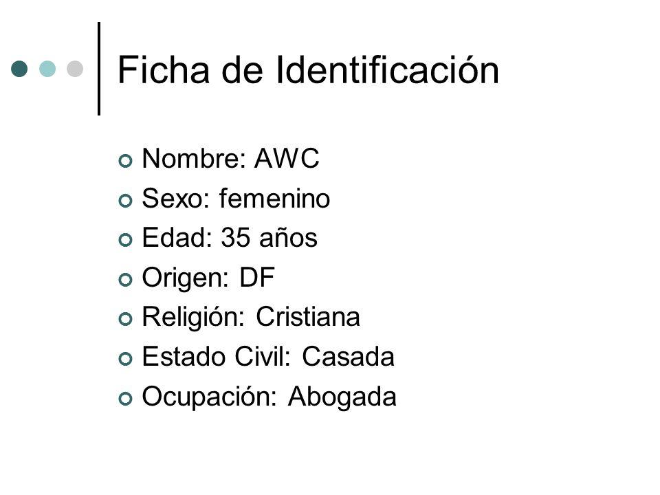 Ficha de Identificación Nombre: AWC Sexo: femenino Edad: 35 años Origen: DF Religión: Cristiana Estado Civil: Casada Ocupación: Abogada