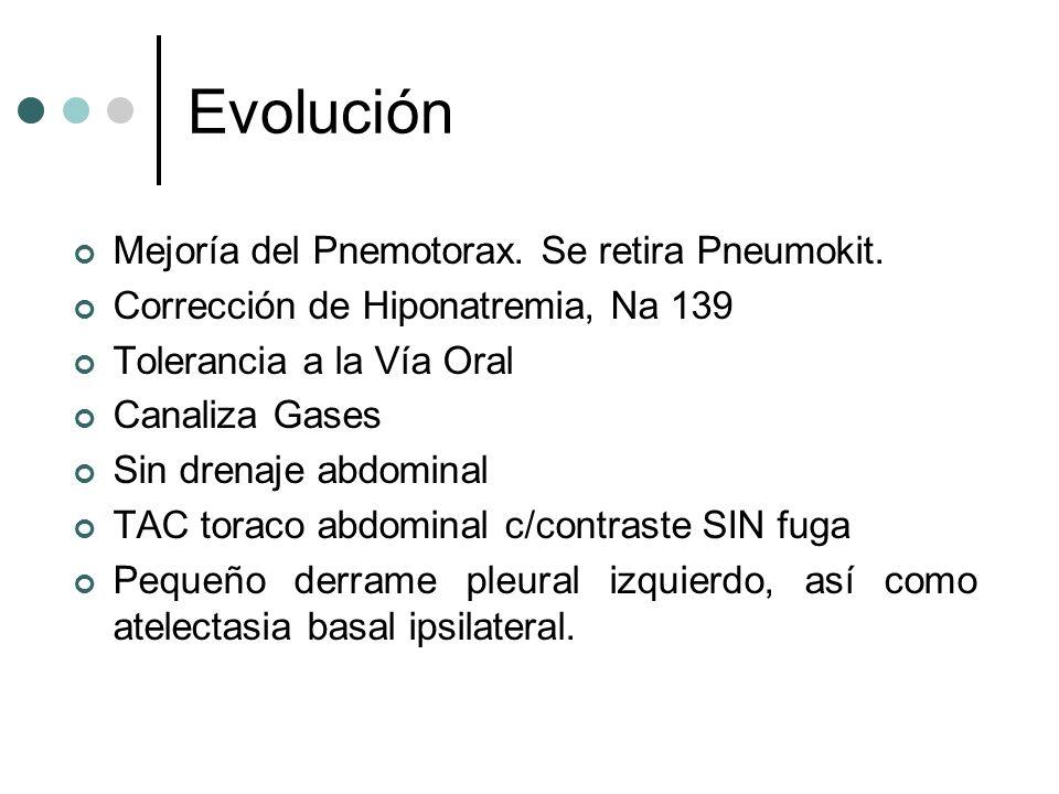 Evolución Mejoría del Pnemotorax. Se retira Pneumokit. Corrección de Hiponatremia, Na 139 Tolerancia a la Vía Oral Canaliza Gases Sin drenaje abdomina