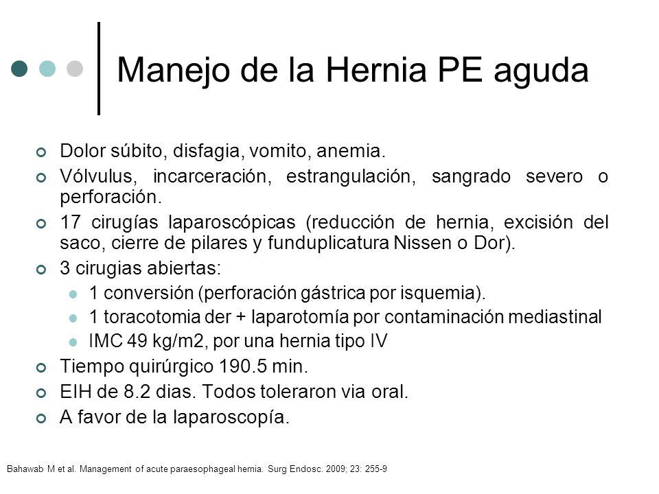 Manejo de la Hernia PE aguda Dolor súbito, disfagia, vomito, anemia. Vólvulus, incarceración, estrangulación, sangrado severo o perforación. 17 cirugí