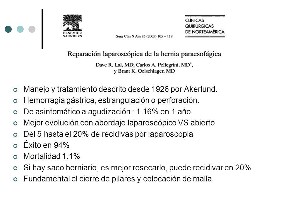 Manejo y tratamiento descrito desde 1926 por Akerlund. Hemorragia gástrica, estrangulación o perforación. De asintomático a agudización : 1.16% en 1 a