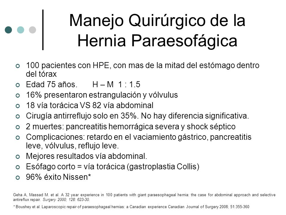 Manejo Quirúrgico de la Hernia Paraesofágica 100 pacientes con HPE, con mas de la mitad del estómago dentro del tórax Edad 75 años. H – M 1 : 1.5 16%