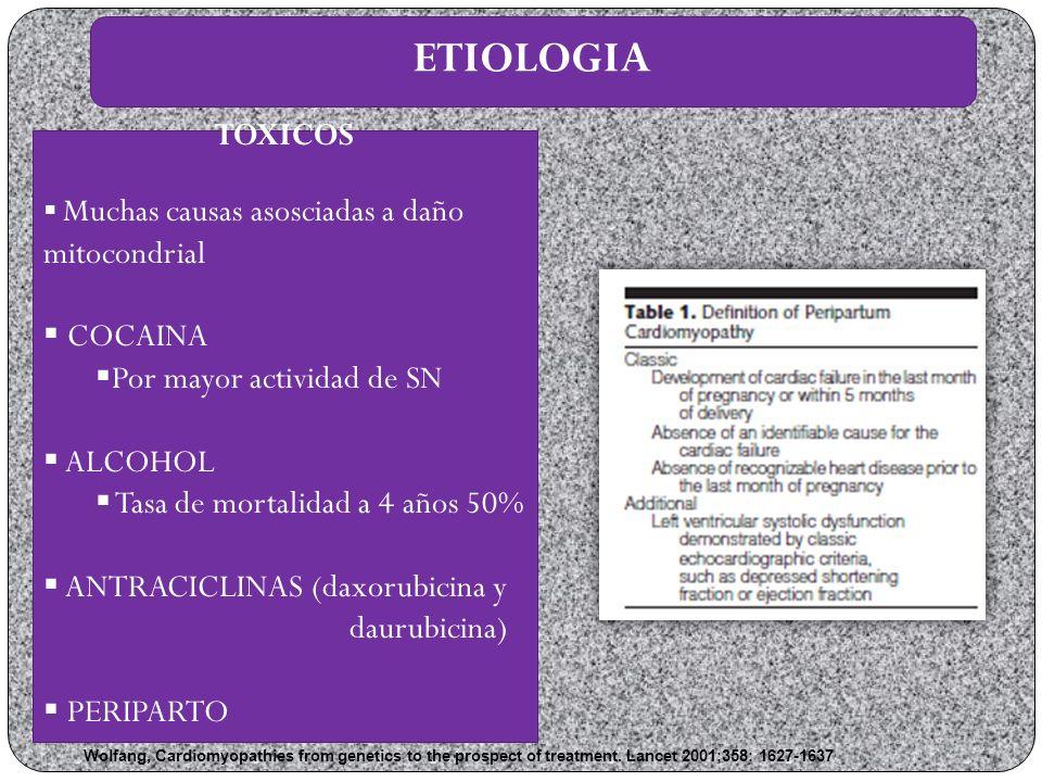 ETIOLOGIA TOXICOS Muchas causas asosciadas a daño mitocondrial COCAINA Por mayor actividad de SN ALCOHOL Tasa de mortalidad a 4 años 50% ANTRACICLINAS (daxorubicina y daurubicina) PERIPARTO Wolfang, Cardiomyopathies from genetics to the prospect of treatment.