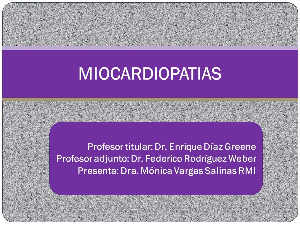 MIOCARDIOPATIA DILATADA Enfermedad del Citoesqueleto y sarcolema que afecta la sarcomera llegando a la CMD Anormalidad en tamaño de cámaras cardiacas y espesor de la pared Primaria y Secundarias Miocardiopatía más frecuente Disfunción sistólica del VI (alteración de la contracción) Aumento de masa y volumen John Lynn, Jeffre A Towbin, y Dilated myocardiopathy..