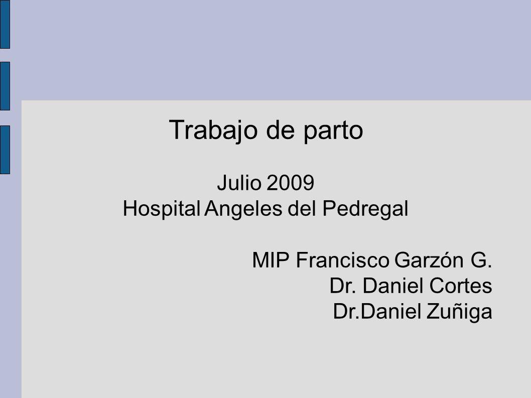 Trabajo de parto Julio 2009 Hospital Angeles del Pedregal MIP Francisco Garzón G. Dr. Daniel Cortes Dr.Daniel Zuñiga
