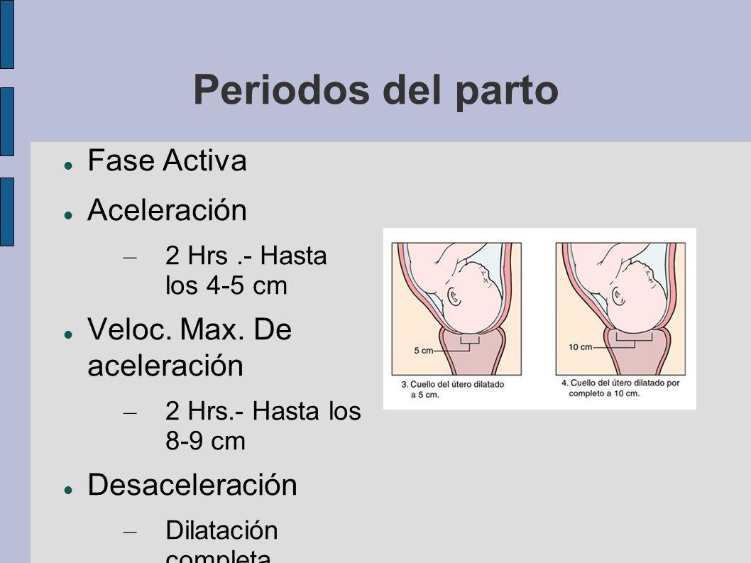 Periodos del parto Fase Activa Aceleración – 2 Hrs.- Hasta los 4-5 cm Veloc. Max. De aceleración – 2 Hrs.- Hasta los 8-9 cm Desaceleración – Dilatació