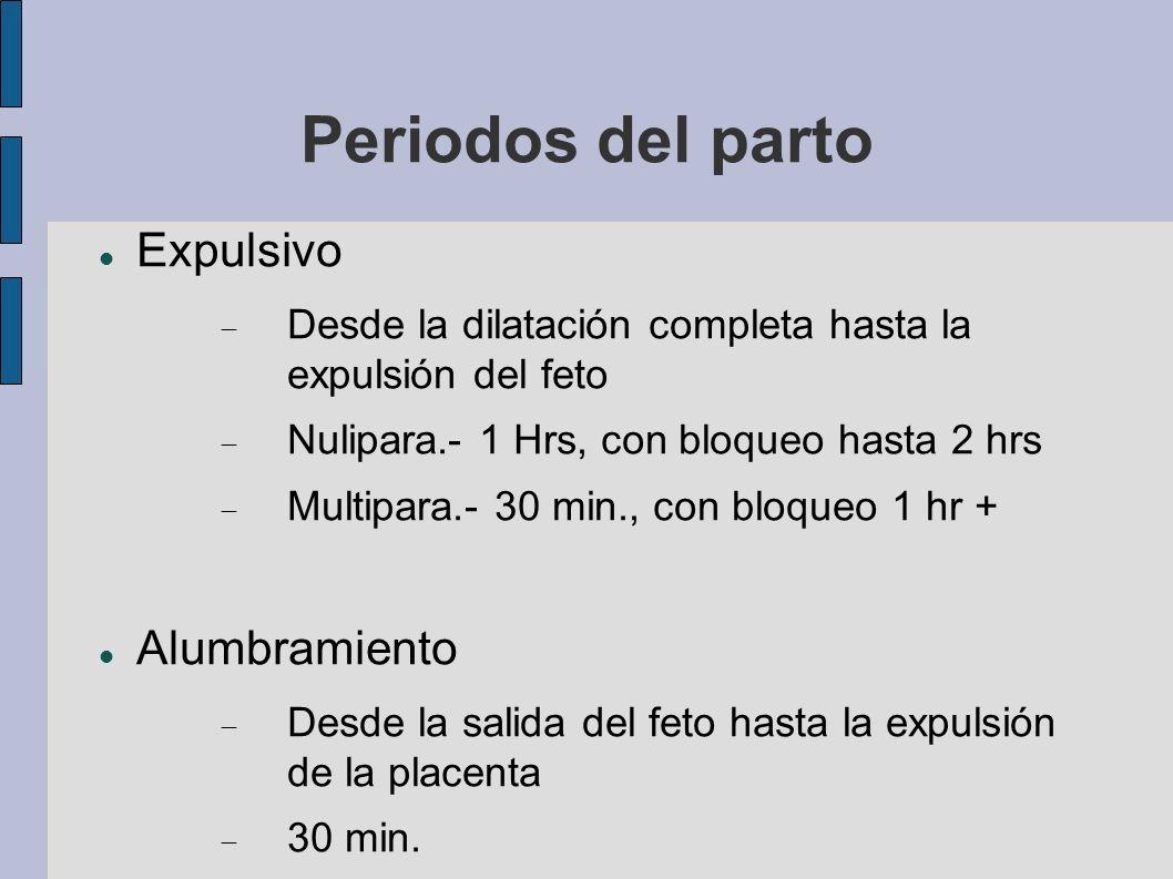 Periodos del parto Expulsivo Desde la dilatación completa hasta la expulsión del feto Nulipara.- 1 Hrs, con bloqueo hasta 2 hrs Multipara.- 30 min., c