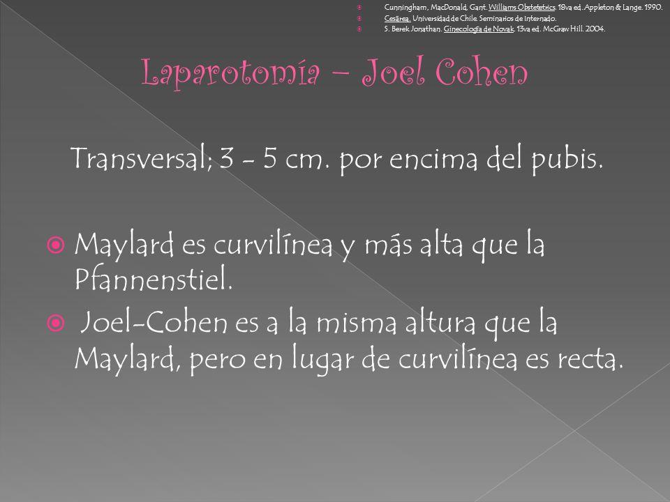 Transversal; 3 - 5 cm. por encima del pubis. Maylard es curvilínea y más alta que la Pfannenstiel. Joel-Cohen es a la misma altura que la Maylard, per
