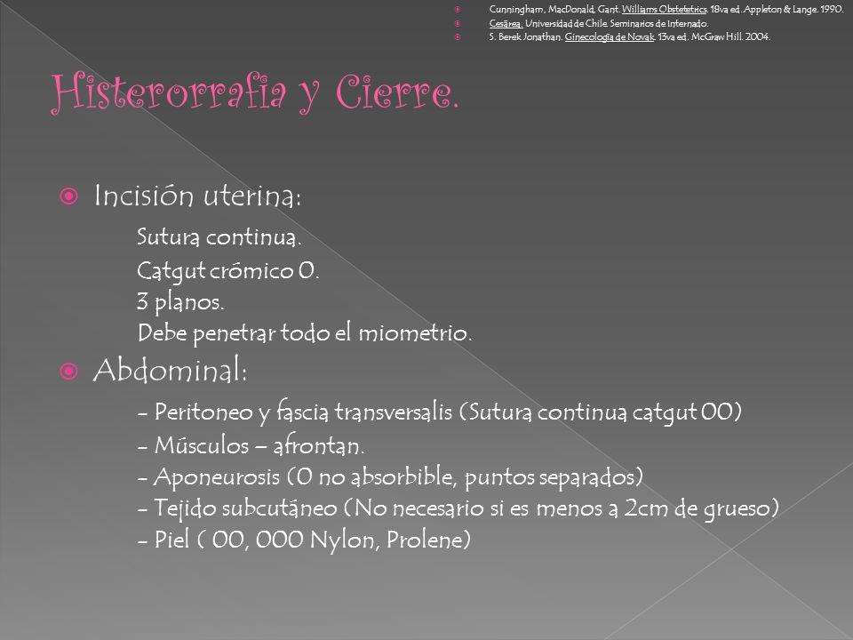Incisión uterina: Sutura continua. Catgut crómico 0. 3 planos. Debe penetrar todo el miometrio. Abdominal: - Peritoneo y fascia transversalis (Sutura