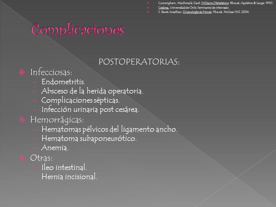 POSTOPERATORIAS: Infecciosas: - Endometritis. - Absceso de la herida operatoria. - Complicaciones sépticas. - Infección urinaria post cesárea. Hemorrá