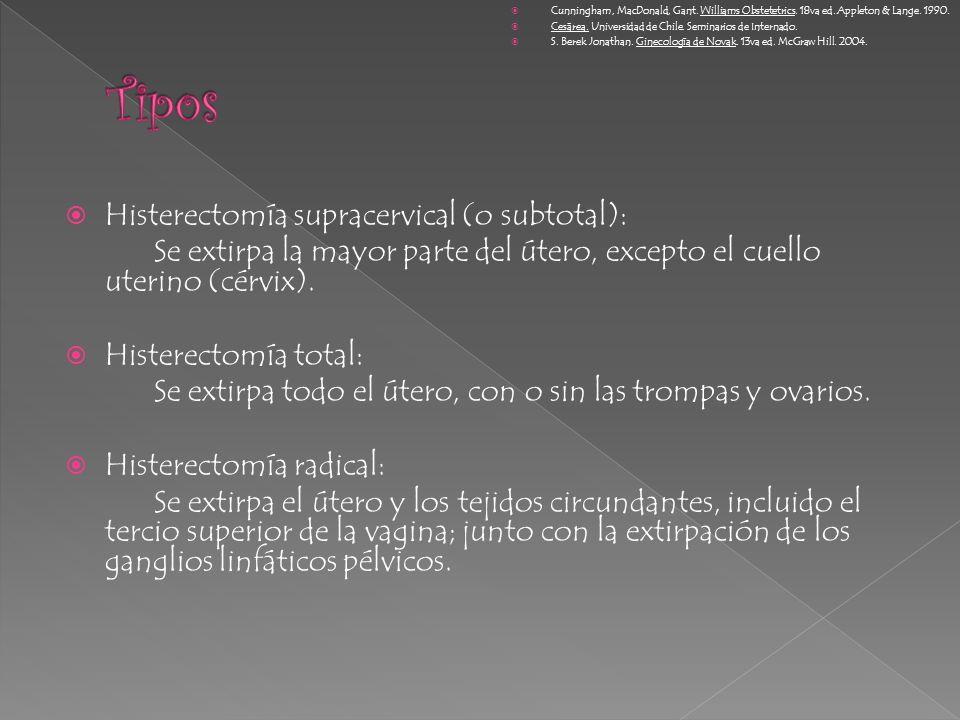 Histerectomía supracervical (o subtotal): Se extirpa la mayor parte del útero, excepto el cuello uterino (cérvix). Histerectomía total: Se extirpa tod