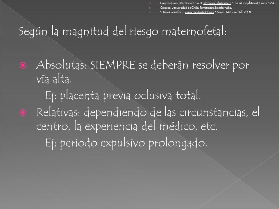 Según la magnitud del riesgo maternofetal: Absolutas: SIEMPRE se deberán resolver por vía alta. Ej: placenta previa oclusiva total. Relativas: dependi