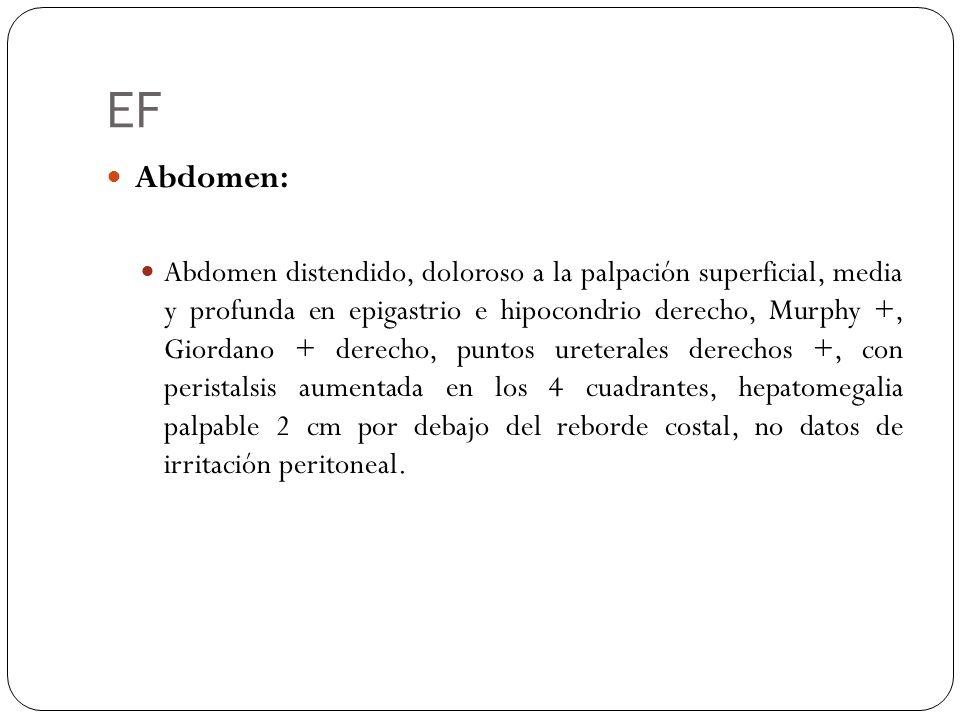 EF Abdomen: Abdomen distendido, doloroso a la palpación superficial, media y profunda en epigastrio e hipocondrio derecho, Murphy +, Giordano + derech