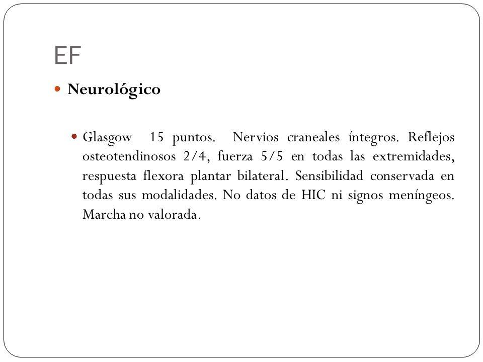EF Neurológico Glasgow 15 puntos. Nervios craneales íntegros. Reflejos osteotendinosos 2/4, fuerza 5/5 en todas las extremidades, respuesta flexora pl