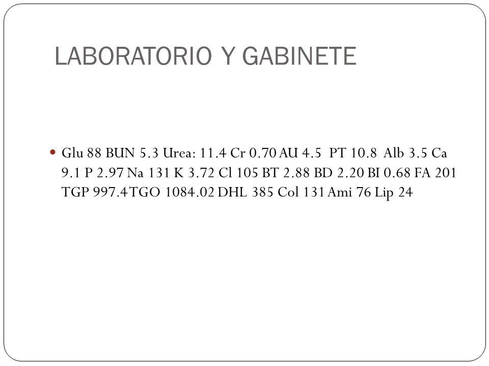 LABORATORIO Y GABINETE Glu 88 BUN 5.3 Urea: 11.4 Cr 0.70 AU 4.5 PT 10.8 Alb 3.5 Ca 9.1 P 2.97 Na 131 K 3.72 Cl 105 BT 2.88 BD 2.20 BI 0.68 FA 201 TGP