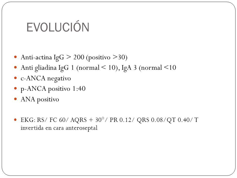EVOLUCIÓN Anti-actina IgG > 200 (positivo >30) Anti gliadina IgG 1 (normal < 10), IgA 3 (normal <10 c-ANCA negativo p-ANCA positivo 1:40 ANA positivo
