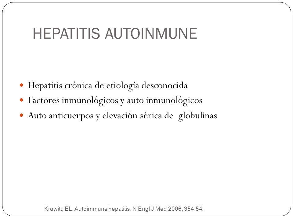 Krawitt, EL. Autoimmune hepatitis. N Engl J Med 2006; 354:54. Hepatitis crónica de etiología desconocida Factores inmunológicos y auto inmunológicos A