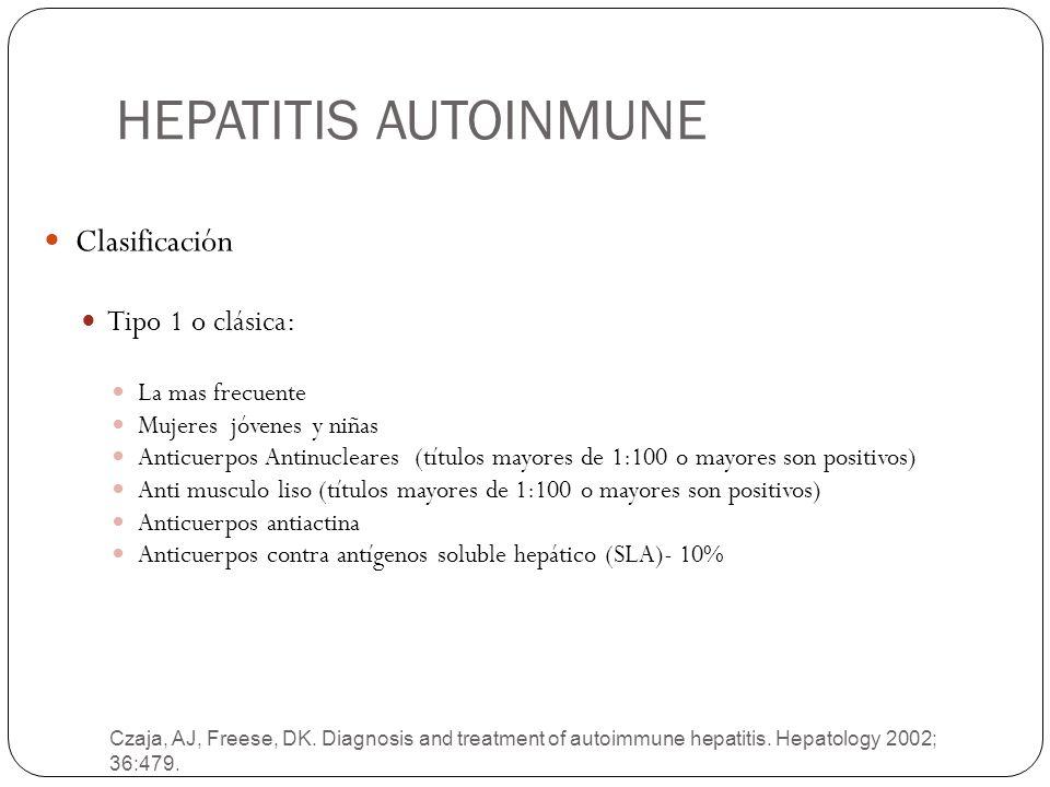 HEPATITIS AUTOINMUNE Czaja, AJ, Freese, DK. Diagnosis and treatment of autoimmune hepatitis. Hepatology 2002; 36:479. Clasificación Tipo 1 o clásica: