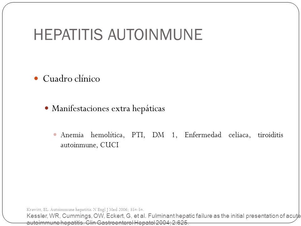 HEPATITIS AUTOINMUNE Kessler, WR, Cummings, OW, Eckert, G, et al. Fulminant hepatic failure as the initial presentation of acute autoimmune hepatitis.