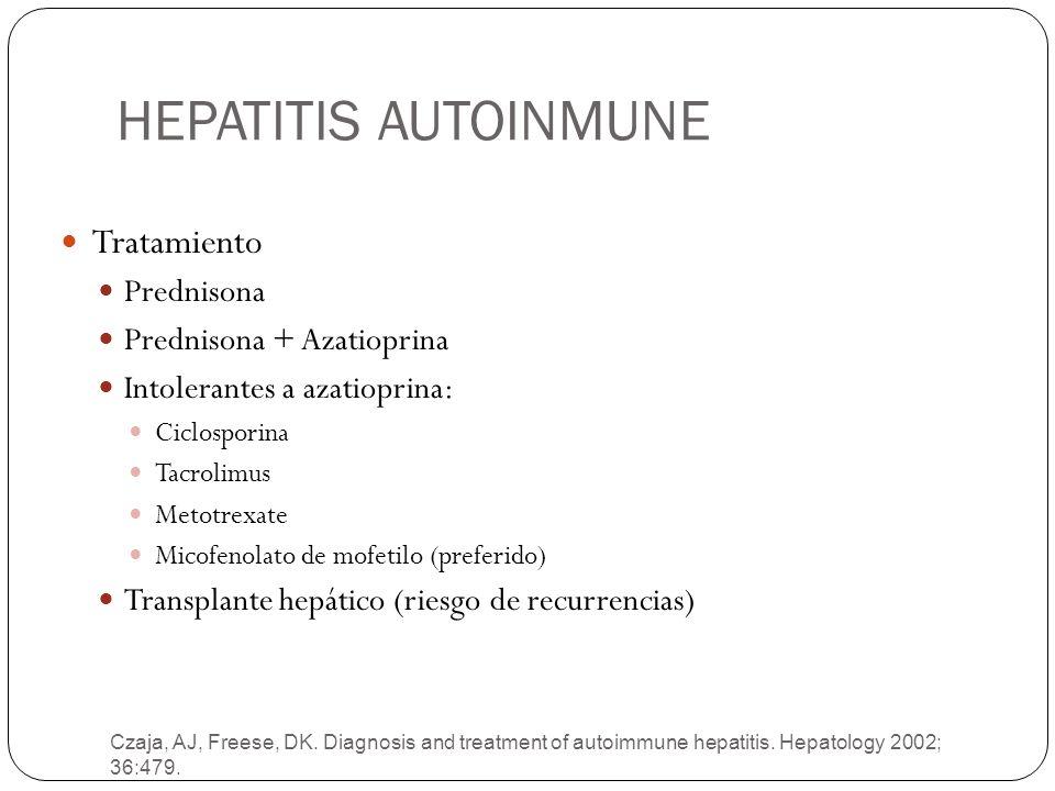 HEPATITIS AUTOINMUNE Czaja, AJ, Freese, DK. Diagnosis and treatment of autoimmune hepatitis. Hepatology 2002; 36:479. Tratamiento Prednisona Prednison