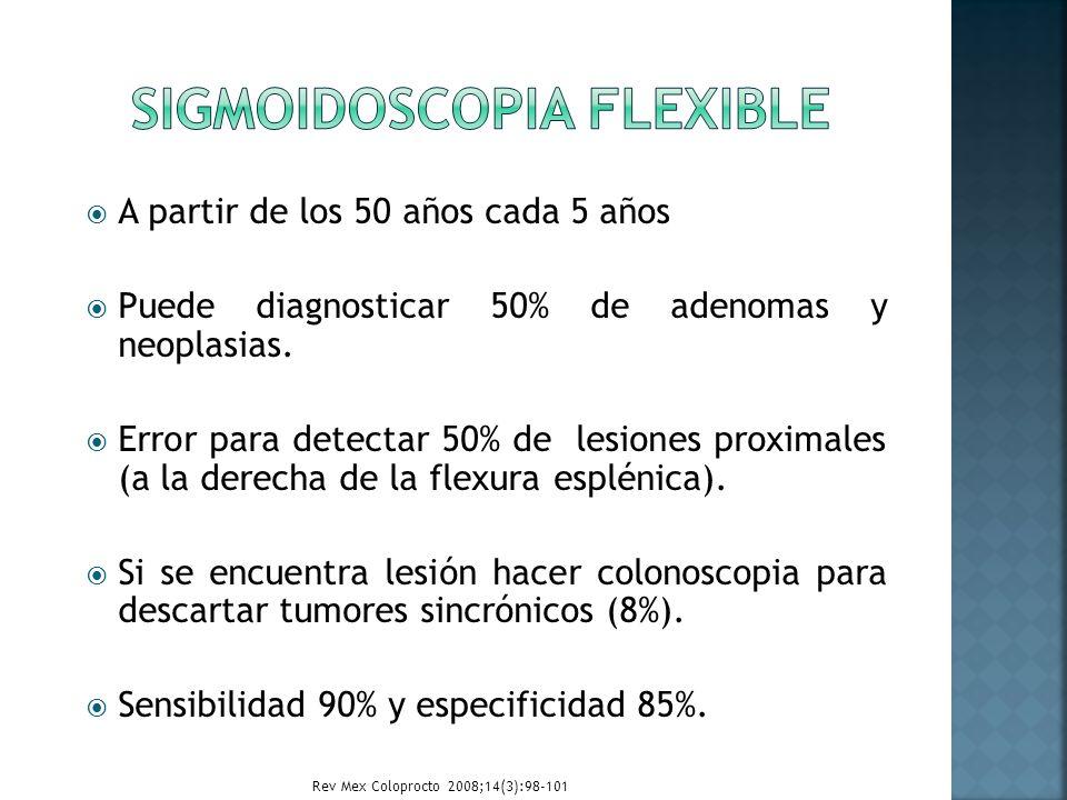 A partir de los 50 años cada 5 años Puede diagnosticar 50% de adenomas y neoplasias. Error para detectar 50% de lesiones proximales (a la derecha de l