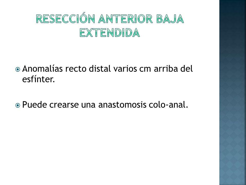 Anomalías recto distal varios cm arriba del esfínter. Puede crearse una anastomosis colo-anal.