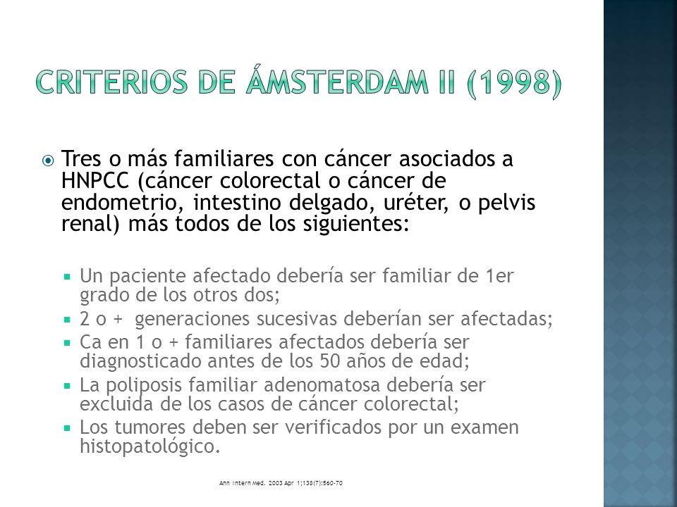 Síndrome de Peutz-Jeghers Poliposis juvenil Se recomienda vigilancia colonoscópica cada 3 años a partir de la adolescencia con o sin sintomatología.