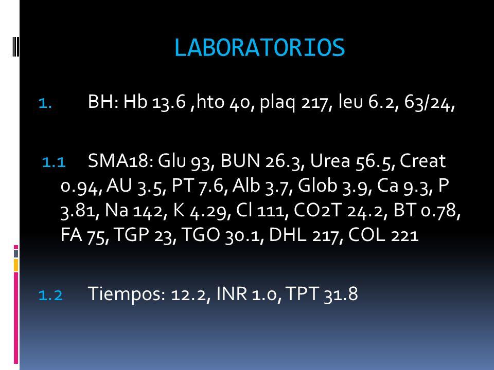 LABORATORIOS 1. BH: Hb 13.6,hto 40, plaq 217, leu 6.2, 63/24, 1.1 SMA18: Glu 93, BUN 26.3, Urea 56.5, Creat 0.94, AU 3.5, PT 7.6, Alb 3.7, Glob 3.9, C
