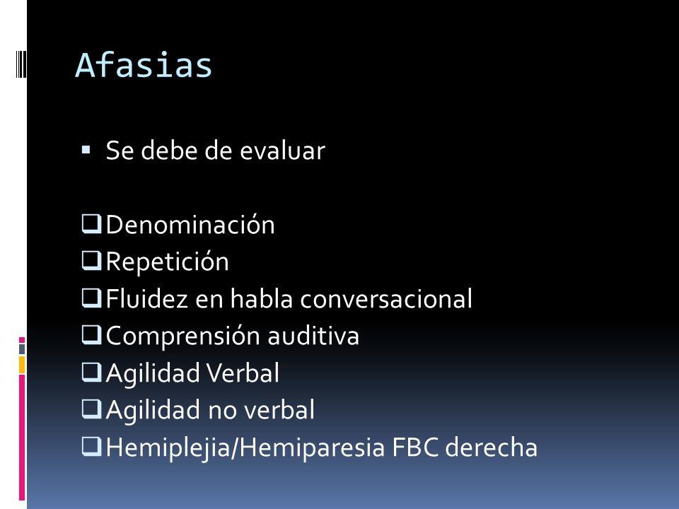 Afasias Se debe de evaluar Denominación Repetición Fluidez en habla conversacional Comprensión auditiva Agilidad Verbal Agilidad no verbal Hemiplejia/
