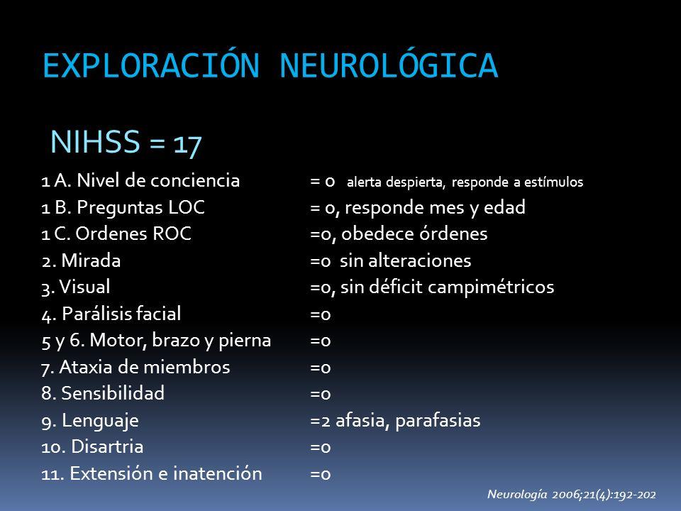 EXPLORACIÓN NEUROLÓGICA 1 A. Nivel de conciencia 1 B. Preguntas LOC 1 C. Ordenes ROC 2. Mirada 3. Visual 4. Parálisis facial 5 y 6. Motor, brazo y pie