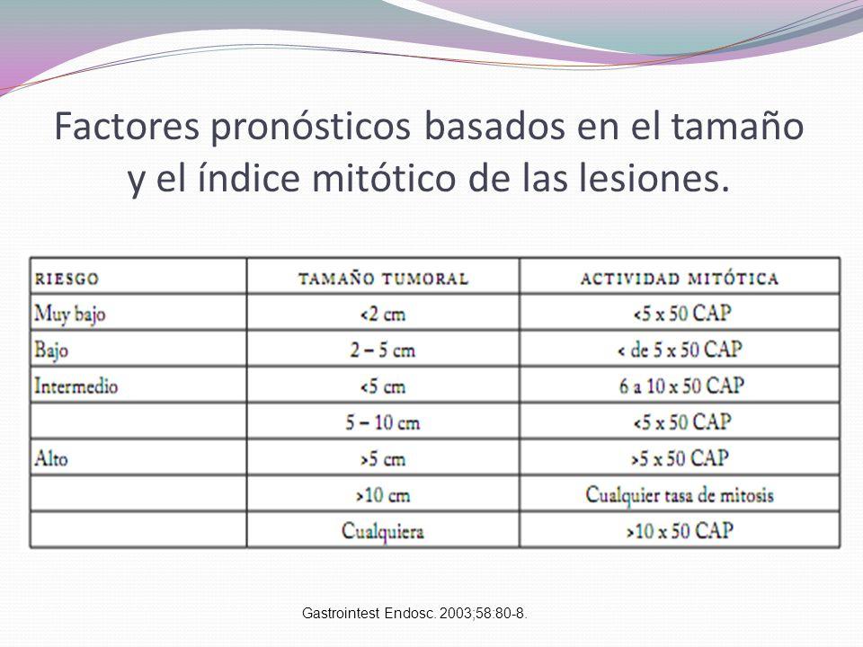 Factores pronósticos basados en el tamaño y el índice mitótico de las lesiones. Gastrointest Endosc. 2003;58:80-8.